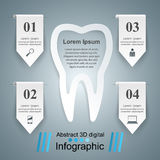 Abstract 3D digital illustration Infographic. Tooth icon. Royalty Free Stock Image
