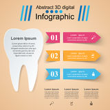 Abstract 3D digital illustration Infographic. Tooth icon. Royalty Free Stock Photo