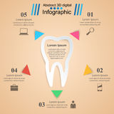 Abstract 3D digital illustration Infographic. Tooth icon. Stock Images