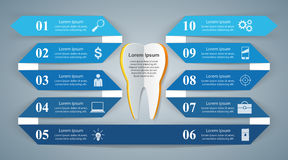 Abstract 3D digital illustration Infographic. Tooth icon. Stock Photography