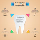 Abstract 3D digital illustration Infographic. Tooth icon. Stock Photo