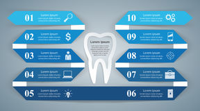 Abstract 3D digital illustration Infographic. Tooth icon. Stock Photos