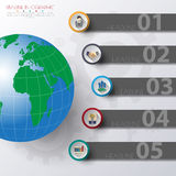 Abstract 3D digital illustration Infographic with world map.  Royalty Free Illustration