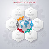 Abstract 3D digital illustration Infographic with world map.Can. Be used for workflow layout, diagram, number options, web design.Vector/illustration Stock Image