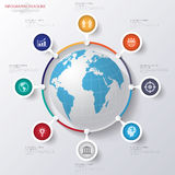 Abstract 3D digital illustration Infographic with world map. Can be used for workflow layout, diagram, number options, web design.Vector/illustration Stock Image