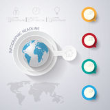 Abstract 3D digital illustration Infographic with world map.Can. Be used for workflow layout, diagram, number options, web design.Vector/illustration Royalty Free Stock Images