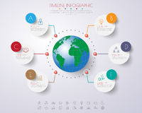 Abstract 3D digital illustration Infographic with world map Royalty Free Stock Images