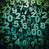 Abstract 3D digits background. Abstract green 3D numbers background computer generated render royalty free illustration