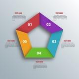 Abstract 3D Document Infographics Pentagoonvorm Vector illustrat royalty-vrije illustratie