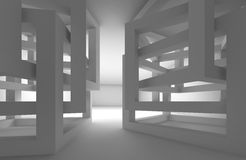 Abstract 3d donker binnenland met chaotische kubusbouw stock illustratie