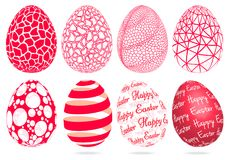 Abstract 3D Easter eggs, vector set. 3D Easter eggs with abstract geometric pattern, set of vector graphic design elements stock illustration