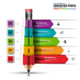Abstract 3D education pencil Infographic. Can be used for workflow layout, data visualization, business concept with 5 options, parts, steps or processes Stock Images