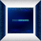 Abstract 3d electronic scheme on blue background Royalty Free Stock Photos