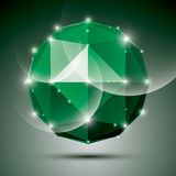 Abstract 3D emerald festive sphere with sparkles, green glossy d Stock Images