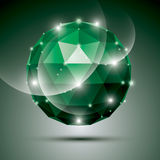 Abstract 3D emerald gala sphere with gemstone effect, green glos. Sy orb created from triangles, eps10 stock illustration