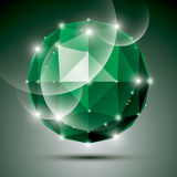 Abstract 3D emerald gleam sphere with sparkles, green precious s Stock Photo
