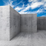 Abstract 3d empty concrete room interior with blue sky Royalty Free Stock Photos
