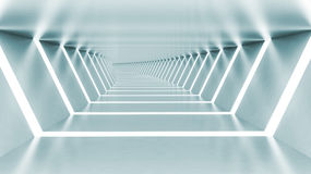 Abstract 3d empty illuminated light blue shining bent corridor Royalty Free Stock Photo