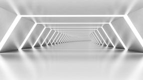 Abstract 3d empty illuminated white shining bent corridor Stock Photo