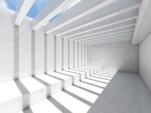 Abstract 3d empty white interior background. Abstract empty white interior background with ceiling illumination and striped pattern of shadows and light beams stock illustration