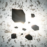 Abstract 3d explosion of chaotic black particles with glow lights. Vector. Background Stock Photo