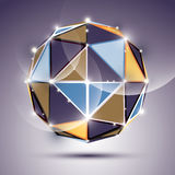 Abstract 3D facet festive sphere with sparkles, bright twinkle m Royalty Free Stock Image