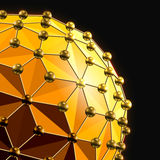 Abstract 3d faceted ball with spheres connections lines. Abstract 3d faceted ball with spheres connections lines on black stock illustration