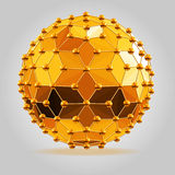 Abstract 3d faceted ball with spheres connections lines. Abstract 3d faceted golden ball with spheres connections lines Stock Images