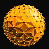 Abstract 3d faceted ball with spheres connections lines. Abstract 3d faceted ball golden with spheres connections lines on black Stock Images