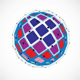 Abstract 3d faceted figure with connected black lines and dots. Vector low poly colorful design element created with squares. Cybernetic orb shape with grid vector illustration