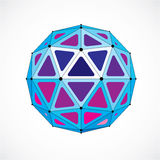 Abstract 3d faceted figure with connected black lines and dots. Blue low poly design element, cybernetic orb shape with grid and lines mesh royalty free illustration