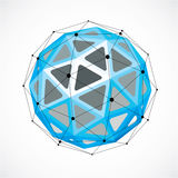 Abstract 3d faceted figure with connected black lines and dots. Blue vector low poly design element, cybernetic orb shape with grid and lines mesh vector illustration