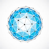 Abstract 3d faceted figure with connected black lines and dots. Blue vector low poly design element, cybernetic orb shape with grid and lines mesh Stock Photo