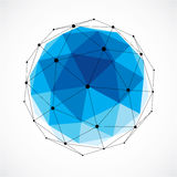 Abstract 3d faceted figure with connected black lines and dots. Blue vector low poly design element, cybernetic orb shape with grid and lines mesh Stock Images
