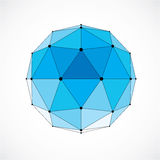 Abstract 3d faceted figure with connected black lines and dots. Blue vector low poly design element, cybernetic orb shape with grid and lines mesh Stock Image