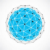 Abstract 3d faceted figure with connected black lines and dots. Blue vector low poly design element, cybernetic orb shape with grid and lines mesh Royalty Free Stock Photos