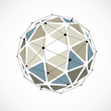 Abstract 3d faceted figure with connected black lines and dots. Colorful vector low poly design element, cybernetic orb shape with grid and lines mesh royalty free illustration