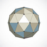 Abstract 3d faceted figure with connected black lines and dots. Colorful vector low poly design element, cybernetic orb shape with grid and lines mesh Royalty Free Stock Image