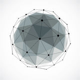 Abstract 3d faceted figure with connected black lines and dots. Gray vector low poly design element, cybernetic orb shape with grid and lines mesh royalty free illustration