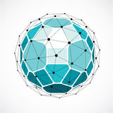Abstract 3d faceted figure with connected black lines and dots. Green vector low poly design element, cybernetic orb shape with grid and lines mesh vector illustration