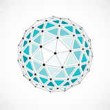 Abstract 3d faceted figure with connected black lines and dots. Green vector low poly design element, cybernetic orb shape with grid and lines mesh royalty free illustration