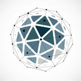 Abstract 3d faceted figure with connected black lines and dots. Monochrome vector low poly design element, cybernetic orb shape with grid and lines mesh stock illustration