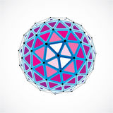 Abstract 3d faceted figure with connected black lines and dots. Purple low poly design element, cybernetic orb shape with grid and lines mesh stock illustration