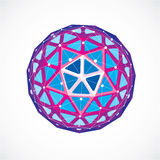 Abstract 3d faceted figure with connected black lines and dots. Purple vector low poly design element, cybernetic orb shape with grid and lines mesh royalty free illustration