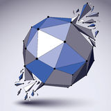 Abstract 3d faceted figure with connected black lines and dots. Vector blue low poly shattered design element with fragments and particles. Explosion effect stock illustration