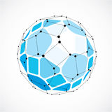 Abstract 3d faceted figure with connected black lines and dots. Vector low poly blue design element created with squares and pentagons. Cybernetic orb shape stock illustration