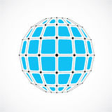 Abstract 3d faceted figure with connected black lines and dots. Vector low poly blue design element created with squares. Cybernetic orb shape with grid and Royalty Free Stock Images