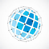 Abstract 3d faceted figure with connected black lines and dots. Vector low poly blue design element created with squares. Cybernetic orb shape with grid and stock illustration