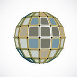 Abstract 3d faceted figure with connected black lines and dots. Vector low poly colorful design element created with squares. Cybernetic orb shape with grid stock illustration