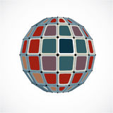 Abstract 3d faceted figure with connected black lines and dots. Vector low poly colorful design element created with squares. Cybernetic orb shape with grid Stock Photos